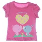 Camisa Manga Corta Bebita -Rosada Estampada (0-24 Meses)